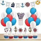 誕生日パーティー 飾り セット 男の子 ボイズ 航海風 海軍 ネイビー セーラー バナー ケーキピック ケーキトッパー ガーランド ストロー バルーン 風船 部屋 飾り付け ブルー 80枚セット