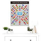 United Nations World Flags Vintage Educational Large Wall Art Poster Print Thick Paper 18X24 Inch 世界国旗ビンテージ壁ポスター印刷 画像