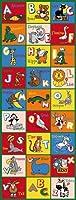 キッズ/ベビールーム/ Daycare /教室/ Playroomエリアラグ。ABC動物。動物園。ライオン。恐竜。Mokey。教育。楽しい。ノンスリップBack。明るくカラフルな鮮やかな色 2 ft x 7 ft runner