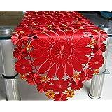 桜の雪 上品 刺繍 透かし彫り優雅 花柄 テーブルランナー ティーテーブル カバー テレビキャビネット 飾り物 (40*193cm)