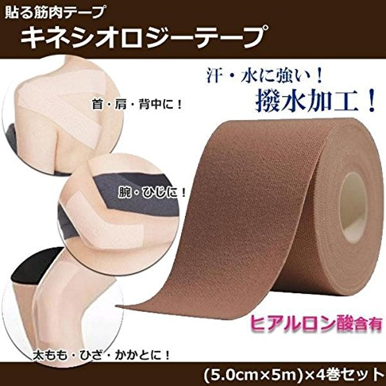 熟達した経歴偶然貼る筋肉テープ キネシオロジーテープ ヒアルロン酸含有 日本製 4巻セット