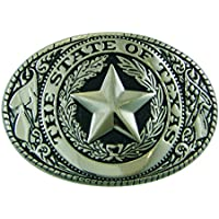 Texas State Seal Belt Buckle Standard Size Oval Silver-tone Finish