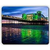 マウスパッド、英国のビーチの湾の海の桟橋のライト、夜の夕日の空、ゲームオフィスのマウスパッド Yanteng