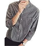 [グリーンティー] シャツ 七分袖 ゆったり ノーカラー ストライプ 柄 ボタン 前開き 男女兼用 M ~ XXL