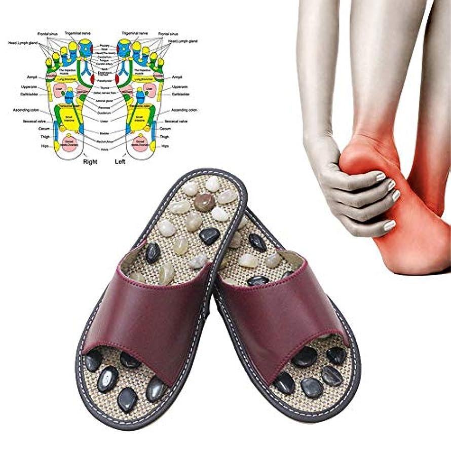 求めるすぐにプロポーショナル健康マッサージフットケアスリッパ、小石ストーンフットマッサージスリッパリフレクソロジー足高齢者鍼健康靴サンダル,WineRed,39/40(25.5CM)