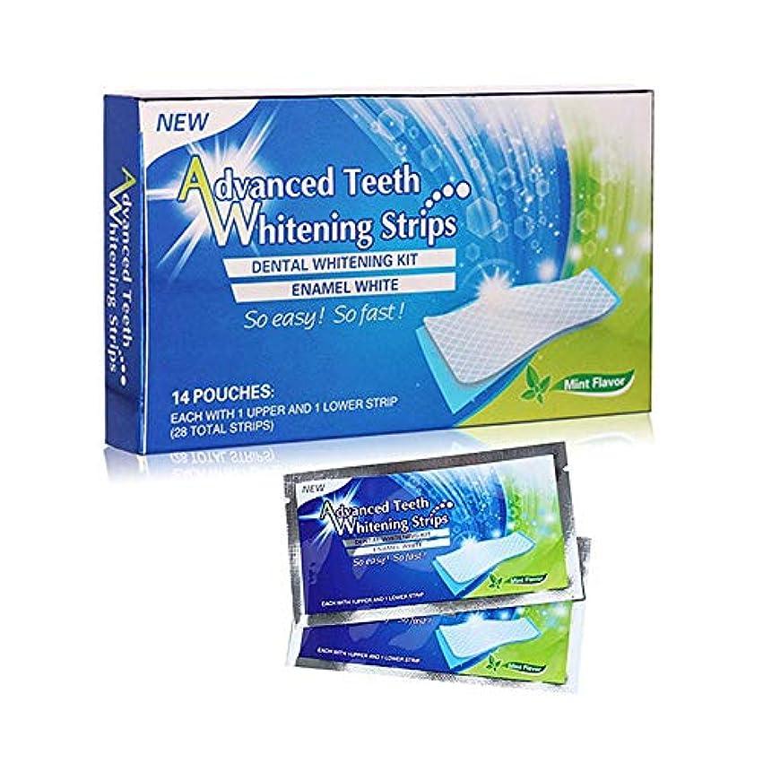 武器分注する説明的Volwco 28 PCS 歯ホワイトニングストリップ ホワイトニング 3Dホワイトシート 歯磨き 歯マニキュア 粘着性 耐久性 美白歯磨き 汚れ除去 口腔衛生管理 歯科用具