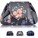 Portable Lazy Drawstring Makeup Bag Travel Cosmetic Bag Pouch Toiletry Organizer Waterproof Large for Women and Girls (Flower