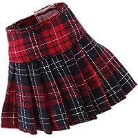 Baosity 全4カラー 12インチブライス アゾン リッカドールのため 1/6スケール プリーツスカート ドレス - レッド
