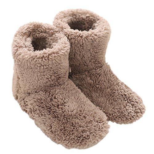 Mianshe 北欧 暖かい もこもこ ルームシューズ 男女兼用 足首まで暖かルームブーツ 冬用 防寒 ボアスリッパ (ベージュ Lサイズ 27cmくらいまで)