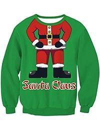 Zhuhaitf クリスマスのファッション レディース Multicolor Christmas Costume Cute Sweater Santa Claus Pullover Womens Tops Long Sleeve