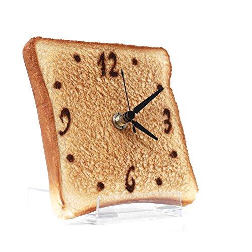 Real Gift 薄切トースト時計 SN04-3001 置き時計 壁掛け可 食品サンプル時計 食品サンプルが文字盤 置き台付属