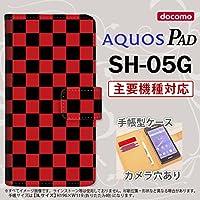 手帳型 ケース SH-05G タブレット カバー AQUOS PAD アクオス スクエア 黒×赤 nk-004s-sh05g-dr763