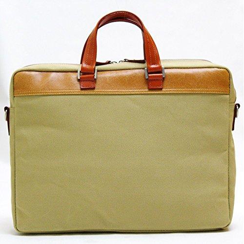 丁寧仕上げ・鞄 ビジネスバッグ 帆布 A4 ファイル対応 バッグ・小物 織人ハンプビジネスバッグ 本革付属 ベージュ ビジネスバッグ