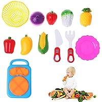 Chone 12pcs Pretend Play Food Cuttingセット、果物野菜切断キッチンおもちゃ、子供教育玩具