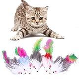 Demiawaking 猫玩具 カラフルサイザルアサ ネズミ おもちゃ フェザー付き 5個入り