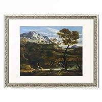 ジャン=フランソワ・ミレー Jean-Francois Millet 「Mountainous landscape with water carrier. About 1660/70」 額装アート作品