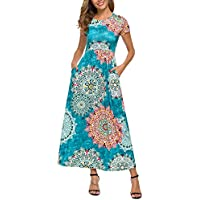 FENSACE Womens Short Sleeve Casual Long Maxi Tshirt Dress with Pockets