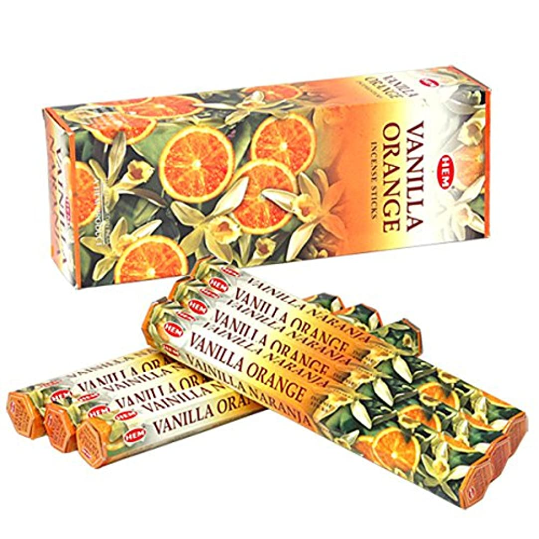 興奮する涙が出る闇HEM(ヘム) バニラオレンジ VANILLA ORANGE スティックタイプ お香 6筒 セット [並行輸入品]