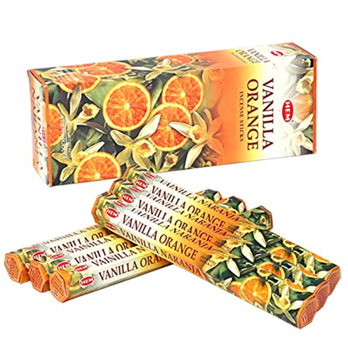 アクセス認知糸HEM(ヘム) バニラオレンジ VANILLA ORANGE スティックタイプ お香 6筒 セット [並行輸入品]