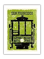 San Francisco - Powell & Market, Bay & Taylor Tramway - Affiche ancienne vintage tourisme voyage du monde mondial Poster c.1960 - Prime 290gsm Gicl?e Imprime - 46cm x 61cm