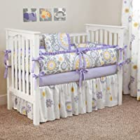 CUSTOM BOUTIQUE BABY BEDDING - Suzani Lavender - 5 Pc Crib Bedding Set by Sofia Bedding