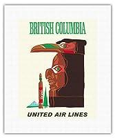 ブリティッシュコロンビア - インドのトーテム - ビンテージな航空会社のポスターc.1960s - キャンバスアート - 28cm x 36cm キャンバスアート(ロール)