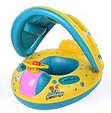 Homespun Float Seat Boat with CanopyイエローブルーサンシェードInflatable Swim水泳リングプールラフトベビーキッドギフト