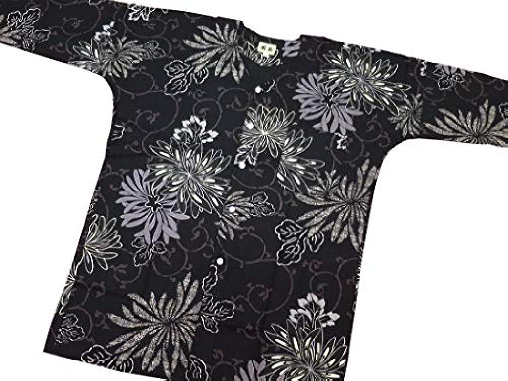一時的バッフル上級【乱菊と唐草?黒】 義若オリジナルの鯉口シャツ単品 男女兼用