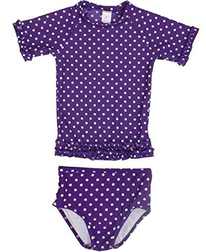 RuffleButts ラッフルバッツ UPF50+ ラッシュガード Grape Polka Dot Ruffled Rash Guard Bikini (18-24m(80), Grape(グレープ)) [並行輸入品]