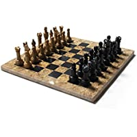 MARBLE CHESS SET Black/Coral, 12 in. includes a deluxe velvet box
