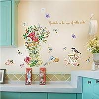 Wangxiaojie 花の寝室リビングルーム取り外し可能な自己接着水証拠デカール装飾アート壁画ウォールステッカーポスター