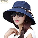 Siggi Ladies Summer Sun Hat Bucket Cord Packable Wide Brim UPF50+ for Women Navy