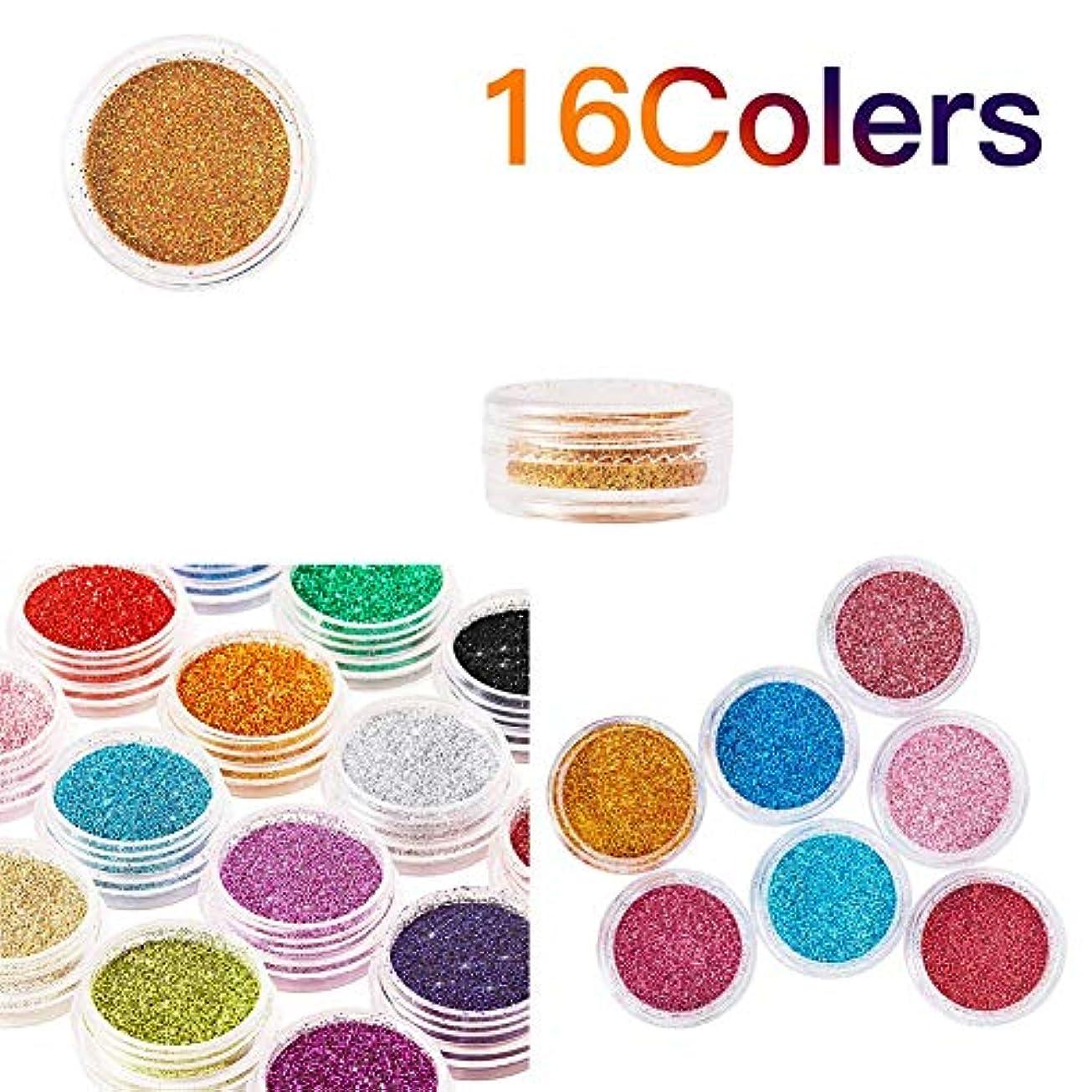 症候群そばにマイクロプロセッサ16色グリッターネイルスパンコールパウダー、シマーダストパウダーデコレーション、化粧品グリッターミネラルアイシャドウアイメイクシャドウ顔料パウダー