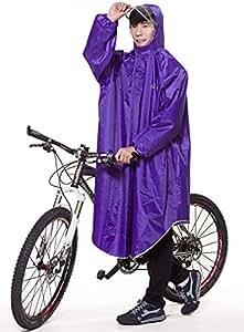 QIAN レインコート 自転車 バイク ロングポンチョ 雨具 通勤 通学 防水 フリーサイズ 男女兼用(パープル)