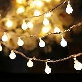 COOLBOTANG 可愛くて小さなボールLEDイルミネーションライト 4m 40球根 ストリングライト 電池式 飾り ワイヤーライト 防水 キャンプ用 パーティー電飾 (ウォームホワイト)