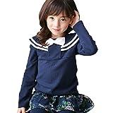【韓国子供服】長袖トップス 女の子 キッズ ジュニア セーラーTグレ地ネイビーリボン 090cm