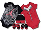 (Jordan) ジョーダン ベビー 新生児 ロンパース5点セット 箱付き (0-6M(0~6ヶ月頃), 黒赤灰) [並行輸入品]