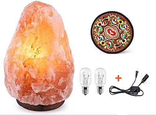 高品質 ヒマラヤ産岩塩ランプ ソルトランプ 天然岩塩ライト 電球二つとマット付き 1年メーカー保証 1.5-2kg
