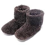 北欧 あったか もこもこルームシューズ 【Mサイズ 22.5-24.5cm】 Lサイズもあります 寒い台所でもホカホカ暖かい 足首まですっぽり 冬用 防寒 ボアブーツ スリッパ【ブラウン】