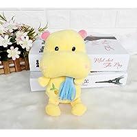 HuaQingPiJu-JP スカーフドールとクリエイティブぬいぐるみカバのぬいぐるみソフトおもちゃのカバの子供ギフト(イエロー、20cm)