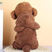 ペット用品 ペットアパレル秋と冬のプラスベルベット暖かいフード付きのぬいぐるみかわいいペットの四本足の服、サイズ:XL(レッド) 人格はペット服をドレスアップ (色 : Brown)