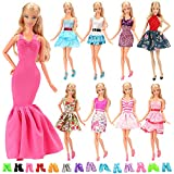 Barwa 5 Sets Fashion Wear Clothes Dresses With 10 Pairs Shoes Random Style For Barbie Doll