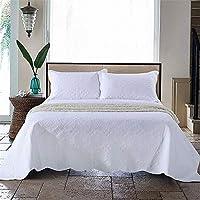 ベッドカバーセット スリーピースベッドアメリカンコットンホワイト刺繍入りキルティング寝具スリーピーススーツ 家庭用ベッドキット (色 : 白)