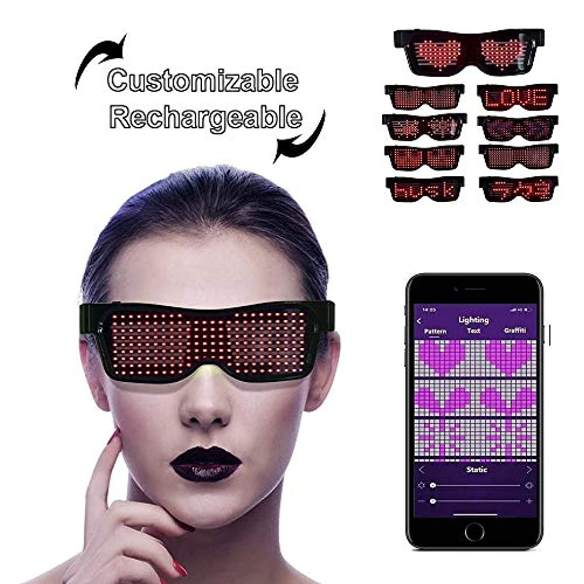 有害犬鏡LEDサングラス, LEDメガネ ブルートゥースLEDパーティーメガネカスタマイズ可能なLEDメガネUSB充電式9モードワイヤレス点滅LEDディスプレイ、フェスティバル用グロー眼鏡レイヴパーティー