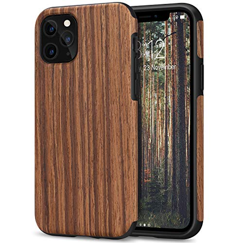 TENDLIN iPhone 11 Pro ケース 天然木層とTPU シリコーンの混合薄木製 耐衝撃ケース(紫檀)