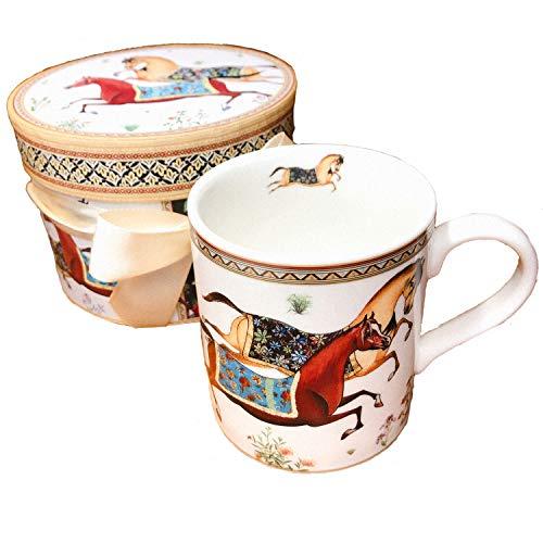 (ADOSSY)モーニングカップ 花柄 マグカップ ギフトボックス付 (優美な馬)