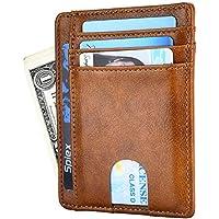 Dlife Slim Wallet RFID Front Pocket Wallet Minimalist Secure Thin Credit Card Holder (Brown)