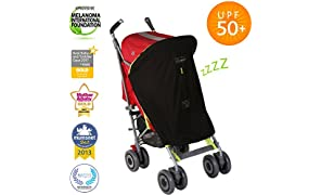 SnoozeShade Original | Universal Fit Baby Pram Sun Shade | Sleep Aid and Blackout Blind for Strollers | Blocks 99% UV