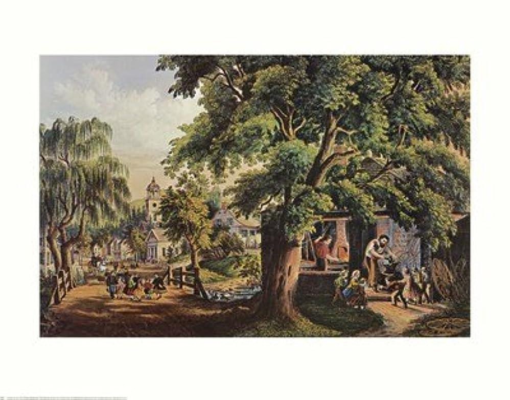 支出集中的な担保村Blacksmith by Currier and Ives – 28 x 22インチ – アートプリントポスター LE_398737