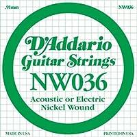 D'Addario ダダリオ エレキギター用バラ弦 ニッケル .036 NW036 【国内正規品】